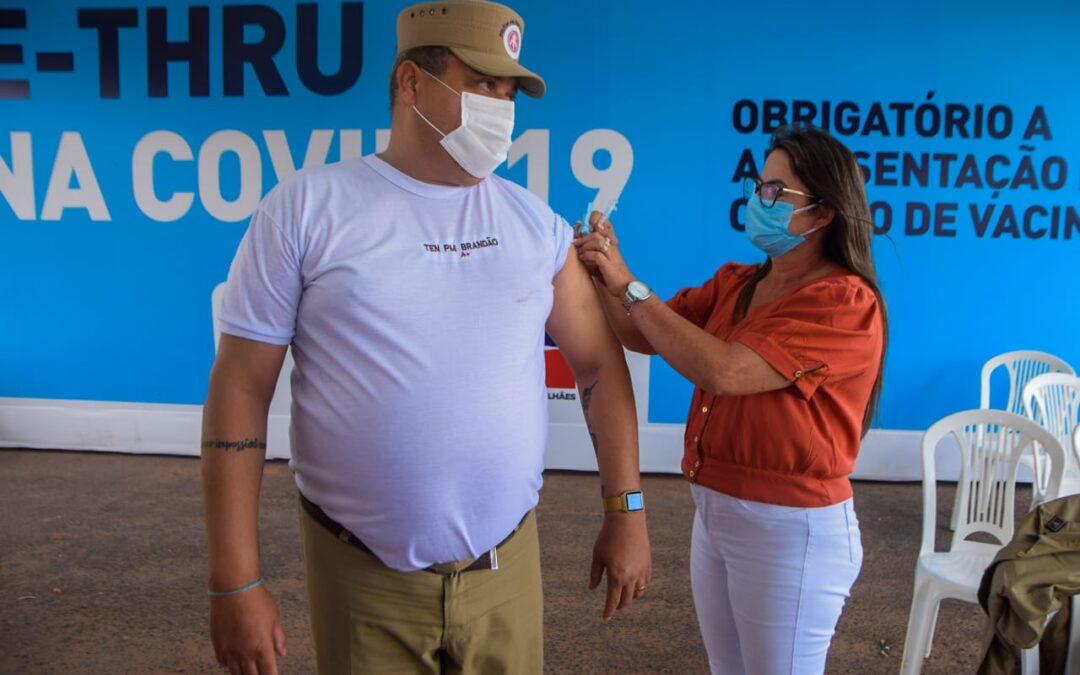 LEM: Policiais militares da 85° CIPM acima de 50 anos são vacinados contra Covid-19.