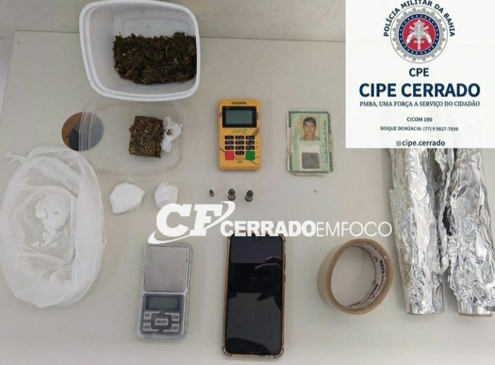 LEM: CIPE CERRADO prende traficante e apreende drogas.